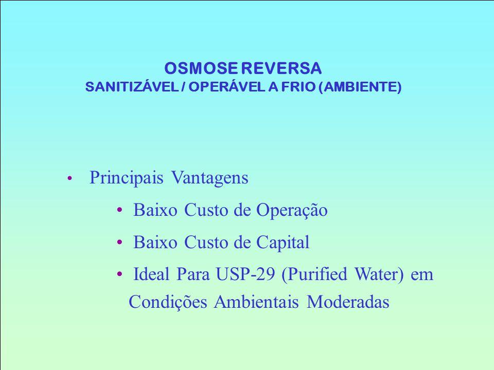 Principais Vantagens Baixo Custo de Operação Baixo Custo de Capital Ideal Para USP-29 (Purified Water) em Condições Ambientais Moderadas OSMOSE REVERS
