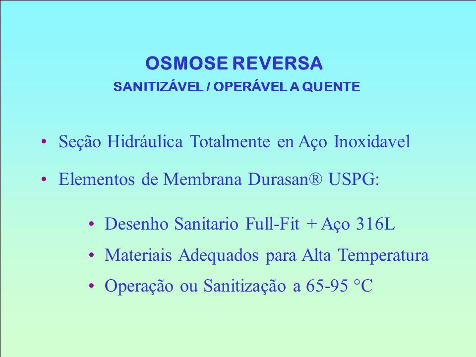 OSMOSE REVERSA SANITIZÁVEL / OPERÁVEL A QUENTE Seção Hidráulica Totalmente en Aço Inoxidavel Elementos de Membrana Durasan® USPG: Desenho Sanitario Fu