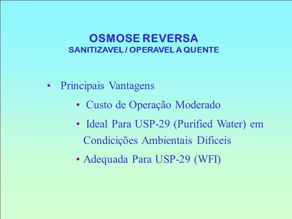 Principais Vantagens Custo de Operação Moderado Ideal Para USP-29 (Purified Water) em Condicições Ambientais Dificeis Adequada Para USP-29 (WFI) OSMOS