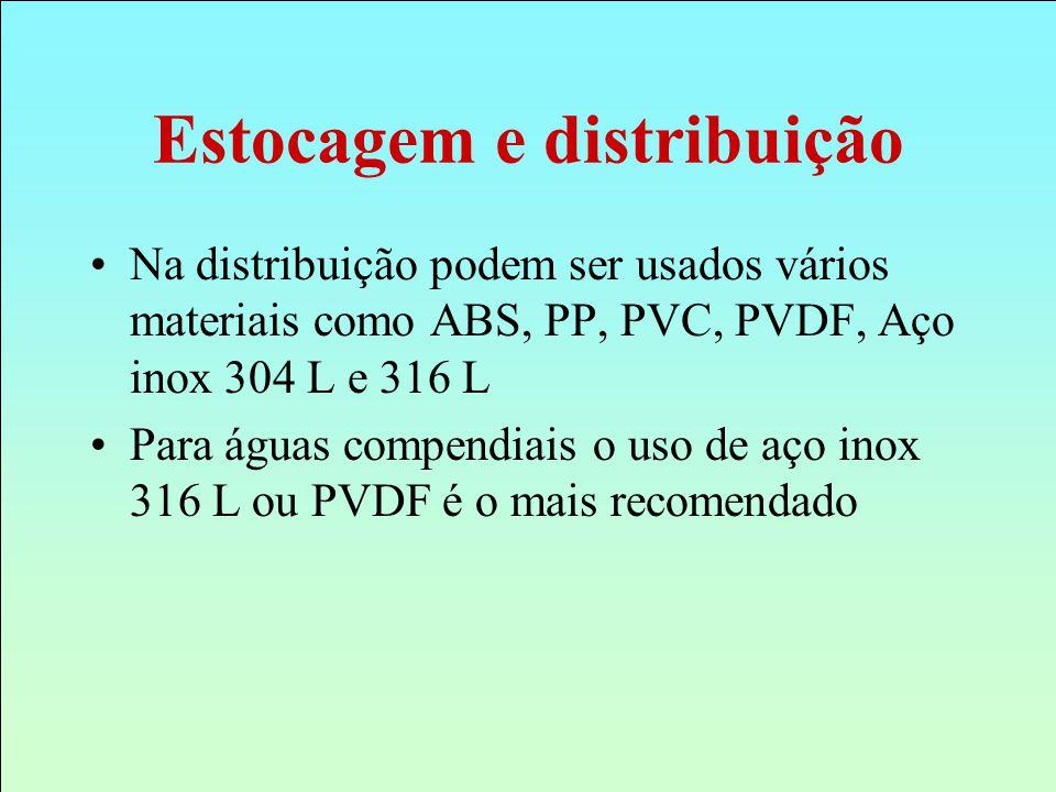 Na distribuição podem ser usados vários materiais como ABS, PP, PVC, PVDF, Aço inox 304 L e 316 L Para águas compendiais o uso de aço inox 316 L ou PV
