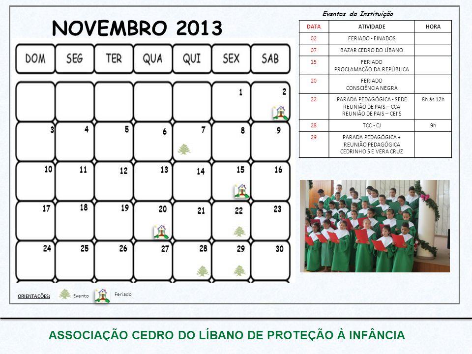 NOVEMBRO 2013 ASSOCIAÇÃO CEDRO DO LÍBANO DE PROTEÇÃO À INFÂNCIA Eventos da Instituição DATAATIVIDADEHORA 02FERIADO - FINADOS 07BAZAR CEDRO DO LÍBANO 1