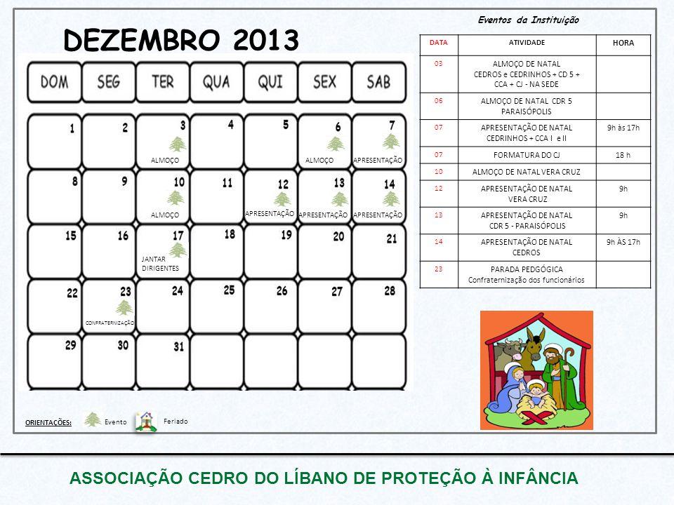 DEZEMBRO 2013 ASSOCIAÇÃO CEDRO DO LÍBANO DE PROTEÇÃO À INFÂNCIA Eventos da Instituição DATAATIVIDADE HORA 03 ALMOÇO DE NATAL CEDROS e CEDRINHOS + CD 5