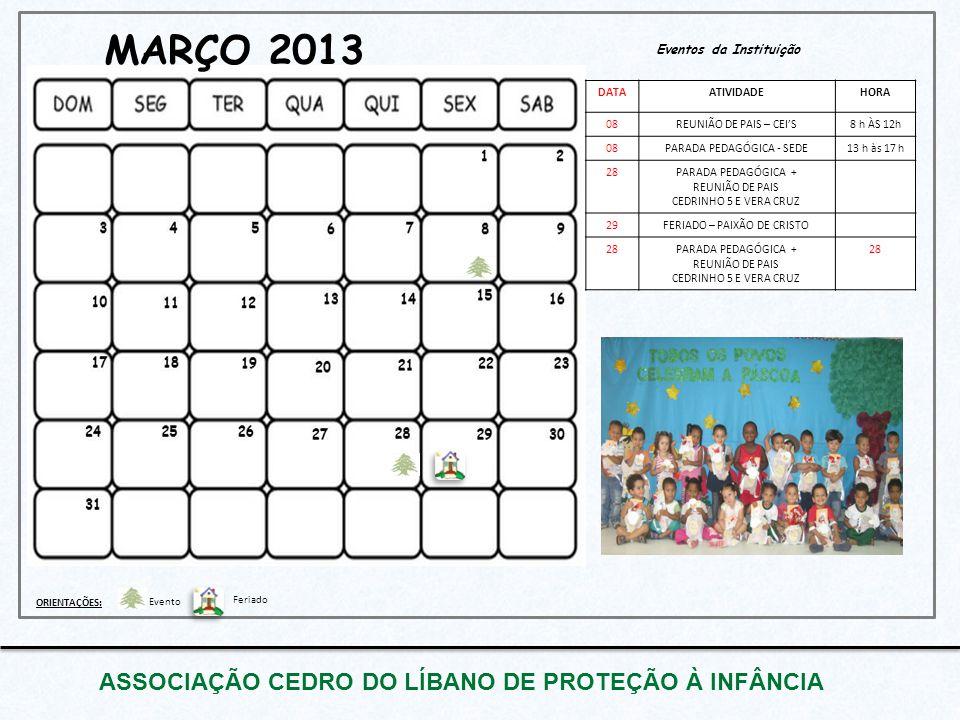 Eventos da Instituição MARÇO 2013 ASSOCIAÇÃO CEDRO DO LÍBANO DE PROTEÇÃO À INFÂNCIA DATAATIVIDADEHORA 08REUNIÃO DE PAIS – CEI'S8 h ÀS 12h 08PARADA PED
