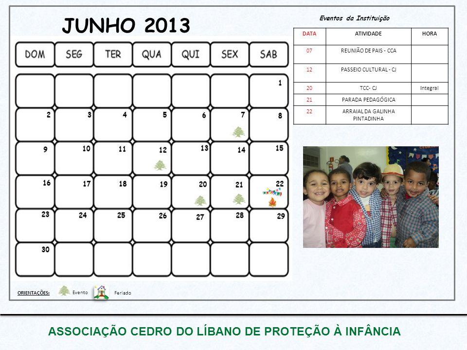 JUNHO 2013 ASSOCIAÇÃO CEDRO DO LÍBANO DE PROTEÇÃO À INFÂNCIA Eventos da Instituição DATAATIVIDADEHORA 07REUNIÃO DE PAIS - CCA 12PASSEIO CULTURAL - CJ