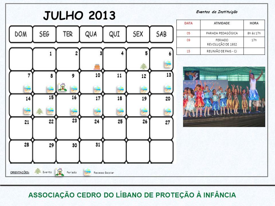 JULHO 2013 ASSOCIAÇÃO CEDRO DO LÍBANO DE PROTEÇÃO À INFÂNCIA Eventos da Instituição DATAATIVIDADEHORA 05PARADA PEDAGÓGICA8h às 17h 09FERIADO REVOLUÇÃO