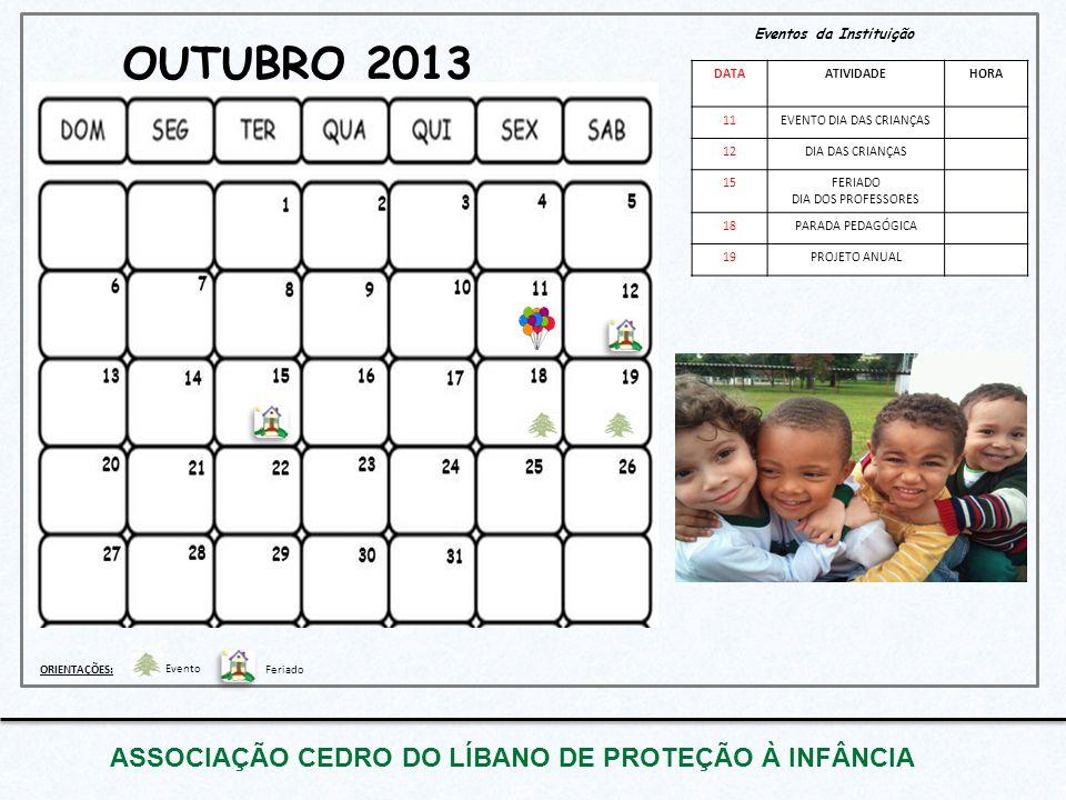 OUTUBRO 2013 ASSOCIAÇÃO CEDRO DO LÍBANO DE PROTEÇÃO À INFÂNCIA Eventos da Instituição DATAATIVIDADEHORA 11EVENTO DIA DAS CRIANÇAS 12DIA DAS CRIANÇAS 1
