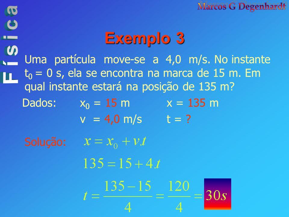 Exemplo 3 Uma partícula move-se a 4,0 m/s. No instante t 0 = 0 s, ela se encontra na marca de 15 m. Em qual instante estará na posição de 135 m? Dados