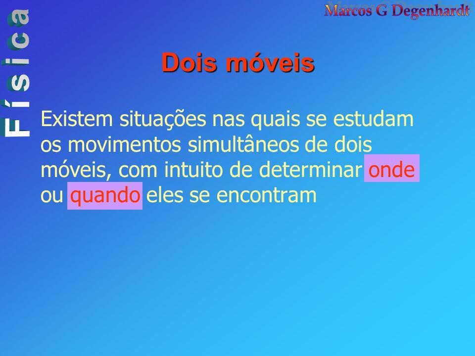 Dois móveis Existem situações nas quais se estudam os movimentos simultâneos de dois móveis, com intuito de determinar onde ou quando eles se encontra