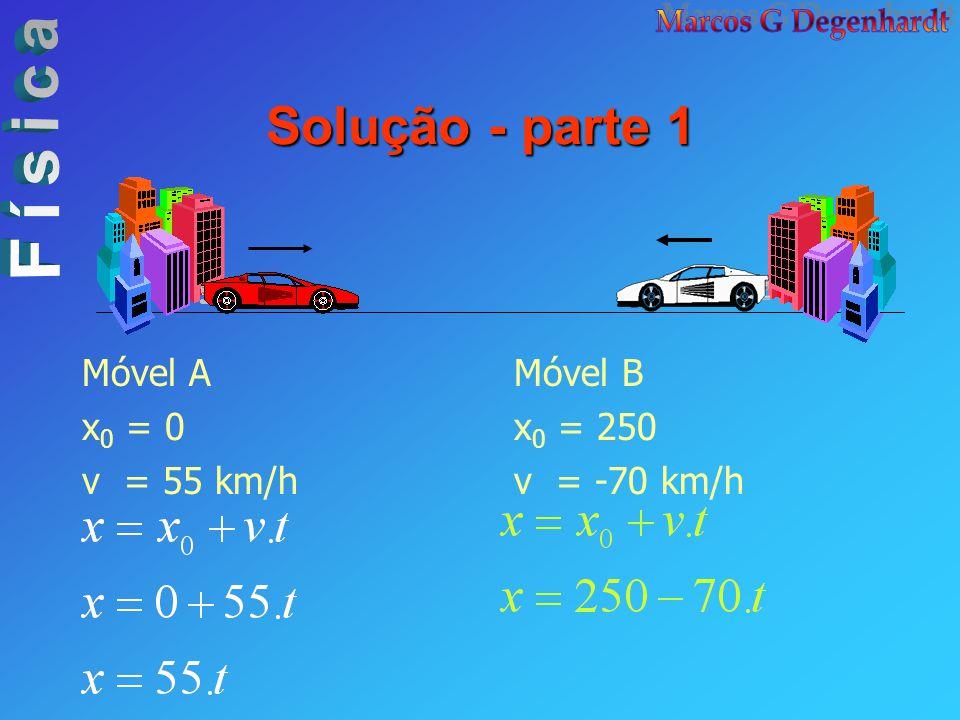 Solução - parte 1 Móvel B x 0 = 250 v = -70 km/h Móvel A x 0 = 0 v = 55 km/h