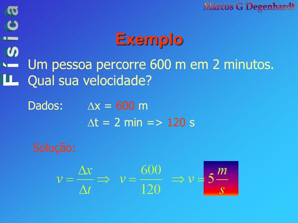 Exemplo Um pessoa percorre 600 m em 2 minutos. Qual sua velocidade? Dados:  x = 600 m  t = 2 min => 120 s Solução: