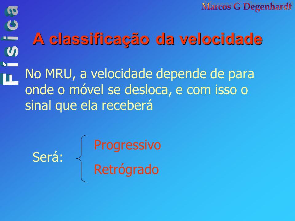 A classificação da velocidade No MRU, a velocidade depende de para onde o móvel se desloca, e com isso o sinal que ela receberá Será: Progressivo Retr