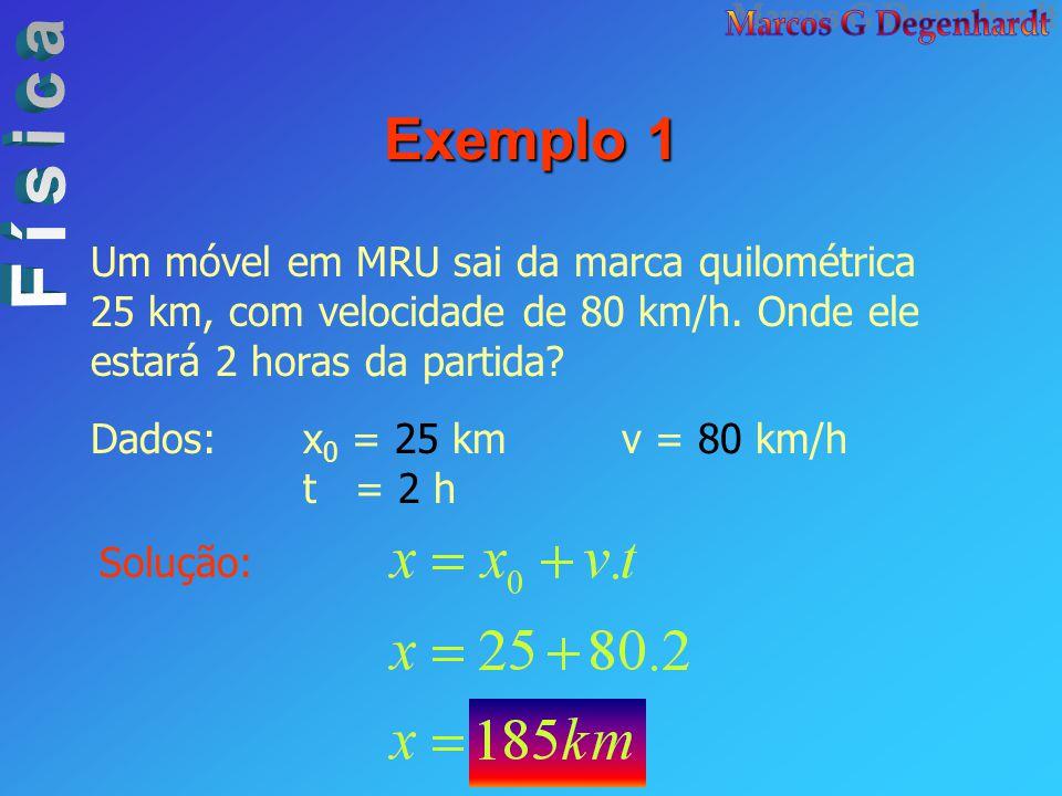 Exemplo 1 Um móvel em MRU sai da marca quilométrica 25 km, com velocidade de 80 km/h. Onde ele estará 2 horas da partida? Dados:x 0 = 25 kmv = 80 km/h