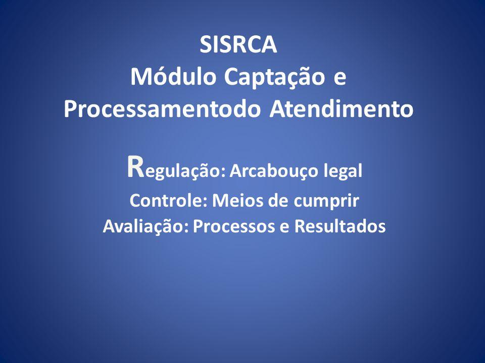 SISRCA Módulo Captação e Processamentodo Atendimento R egulação: Arcabouço legal Controle: Meios de cumprir Avaliação: Processos e Resultados