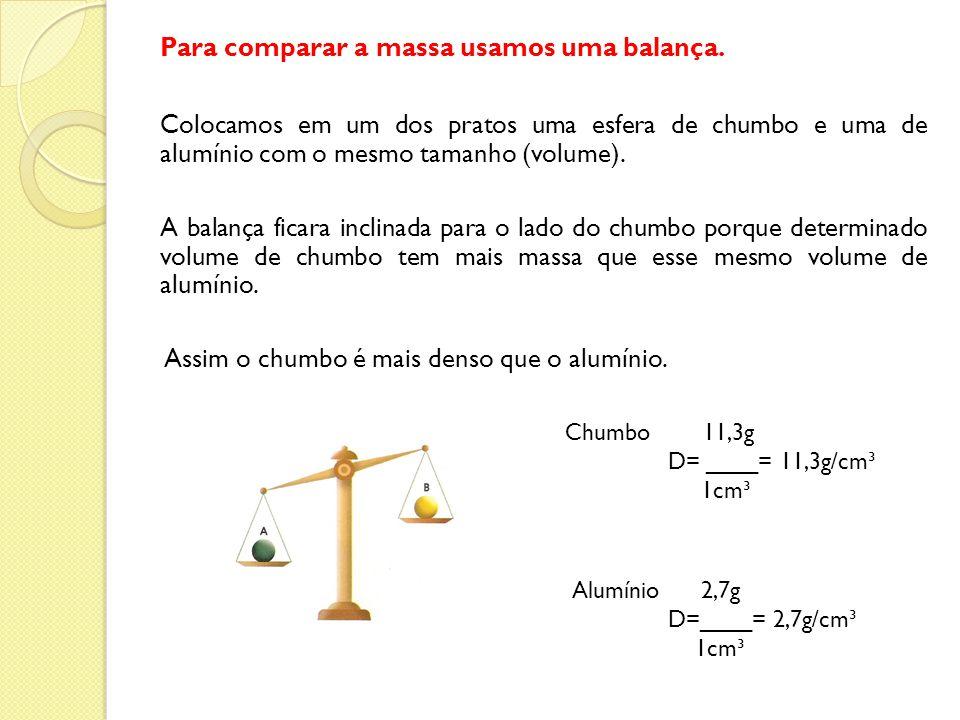 Para comparar a massa usamos uma balança. Colocamos em um dos pratos uma esfera de chumbo e uma de alumínio com o mesmo tamanho (volume). A balança fi