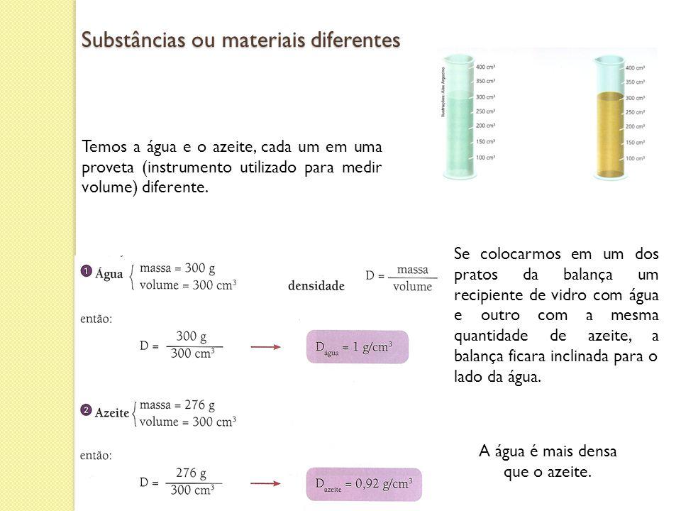 Substâncias ou materiais diferentes Temos a água e o azeite, cada um em uma proveta (instrumento utilizado para medir volume) diferente. A água é mais