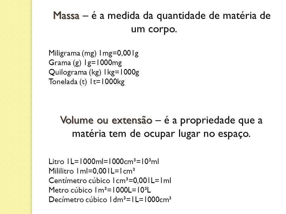 Massa Massa – é a medida da quantidade de matéria de um corpo. Miligrama (mg) 1mg=0,001g Grama (g) 1g=1000mg Quilograma (kg) 1kg=1000g Tonelada (t) 1t