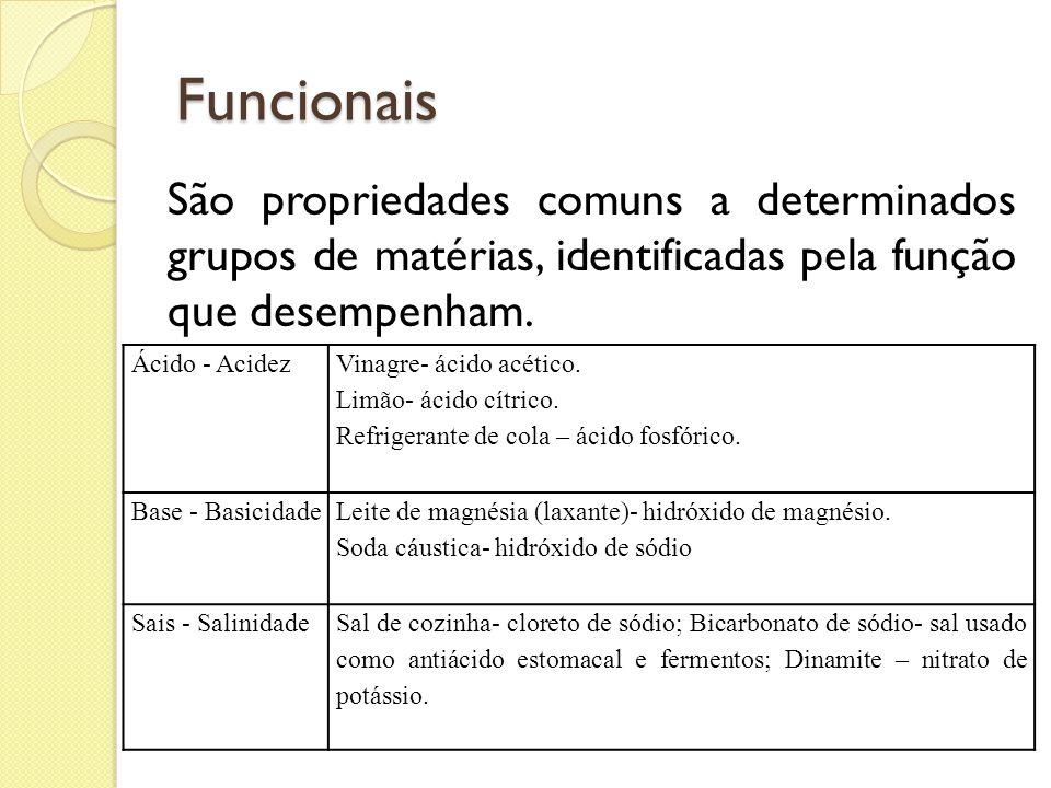 Funcionais São propriedades comuns a determinados grupos de matérias, identificadas pela função que desempenham. Ácido - Acidez Vinagre- ácido acético