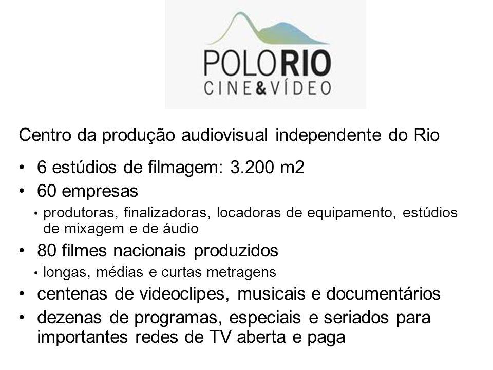 Centro da produção audiovisual independente do Rio 6 estúdios de filmagem: 3.200 m2 60 empresas produtoras, finalizadoras, locadoras de equipamento, e