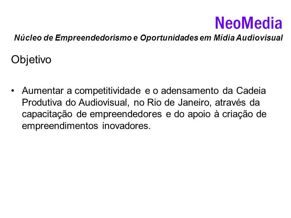 Objetivo Aumentar a competitividade e o adensamento da Cadeia Produtiva do Audiovisual, no Rio de Janeiro, através da capacitação de empreendedores e