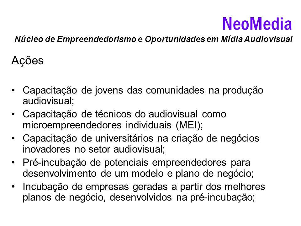 Ações Capacitação de jovens das comunidades na produção audiovisual; Capacitação de técnicos do audiovisual como microempreendedores individuais (MEI)