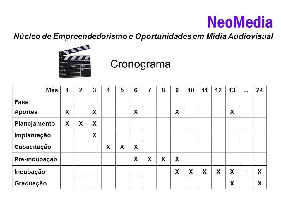 NeoMedia Núcleo de Empreendedorismo e Oportunidades em Mídia Audiovisual Cronograma Mês Fase 12345678910111213...24 AportesXXXXX PlanejamentoXXX Impla