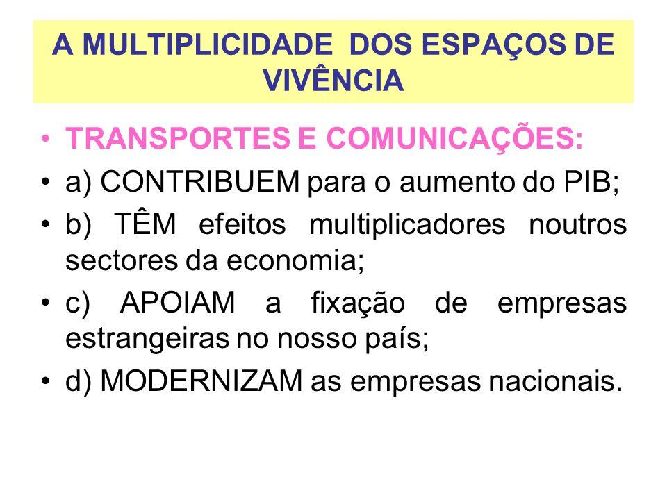 A MULTIPLICIDADE DOS ESPAÇOS DE VIVÊNCIA TRANSPORTES E COMUNICAÇÕES: a) CONTRIBUEM para o aumento do PIB; b) TÊM efeitos multiplicadores noutros secto