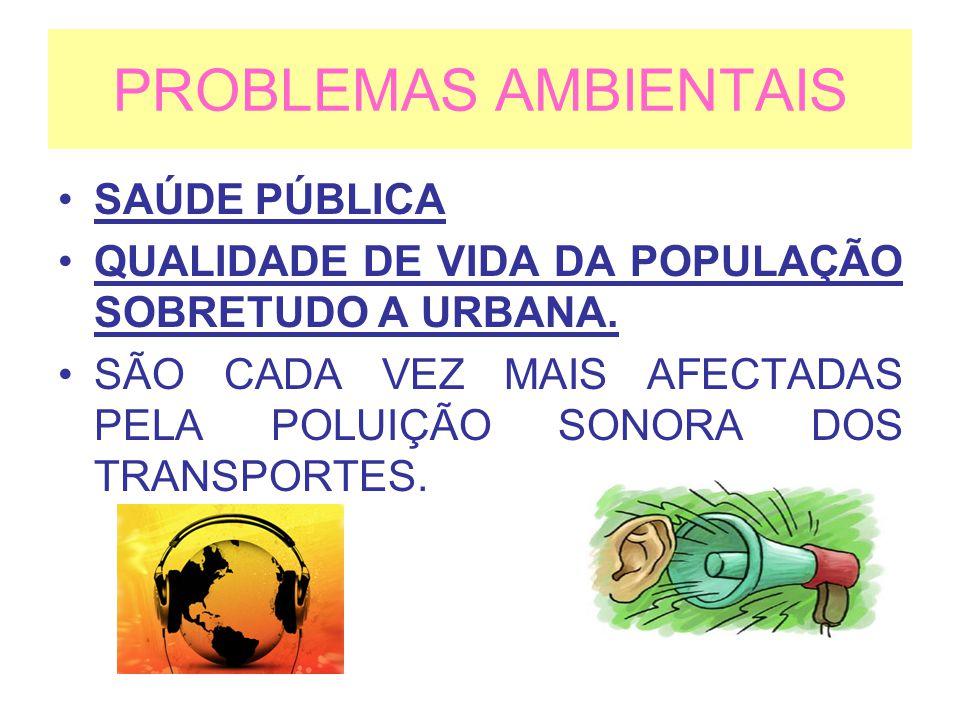 PROBLEMAS AMBIENTAIS SAÚDE PÚBLICA QUALIDADE DE VIDA DA POPULAÇÃO SOBRETUDO A URBANA. SÃO CADA VEZ MAIS AFECTADAS PELA POLUIÇÃO SONORA DOS TRANSPORTES