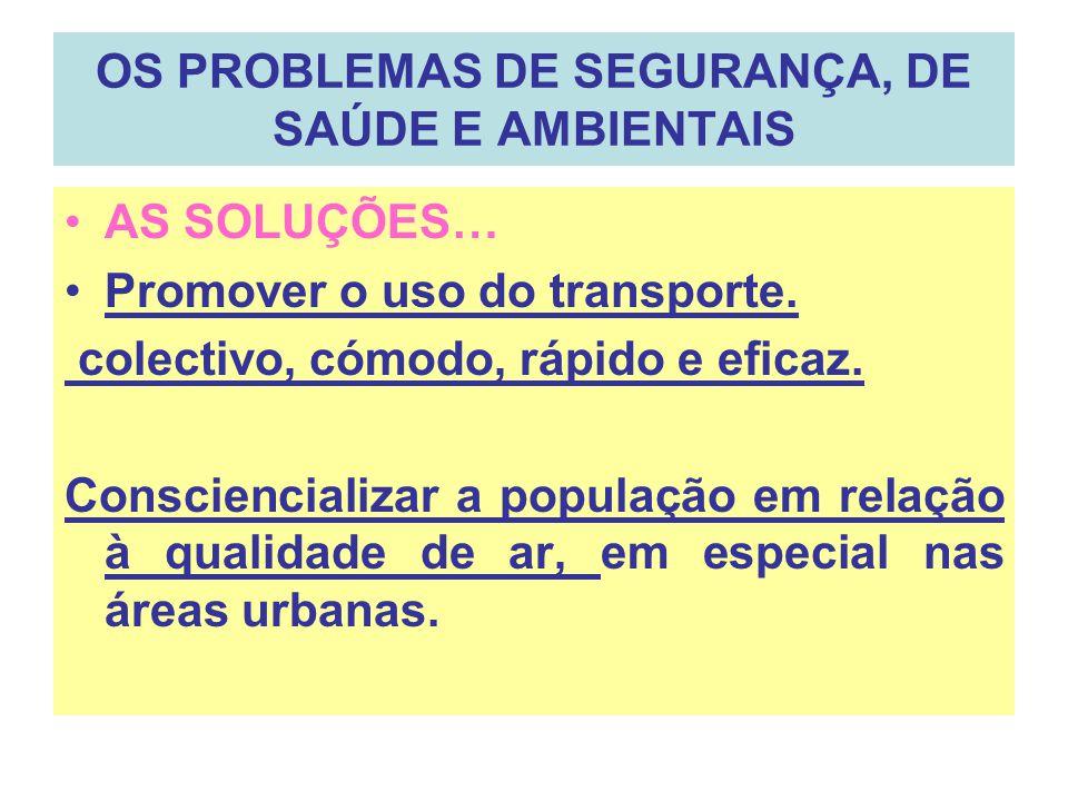 OS PROBLEMAS DE SEGURANÇA, DE SAÚDE E AMBIENTAIS AS SOLUÇÕES… Promover o uso do transporte. colectivo, cómodo, rápido e eficaz. Consciencializar a pop