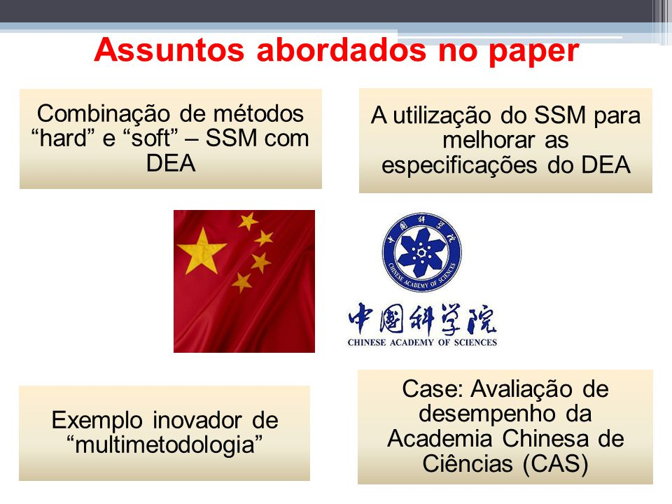 Using SSM to structure the identification of inputs and outputs in DEA Mônica Domenico Roberto Fullgraf Sandro Ormond Sérgio Motta