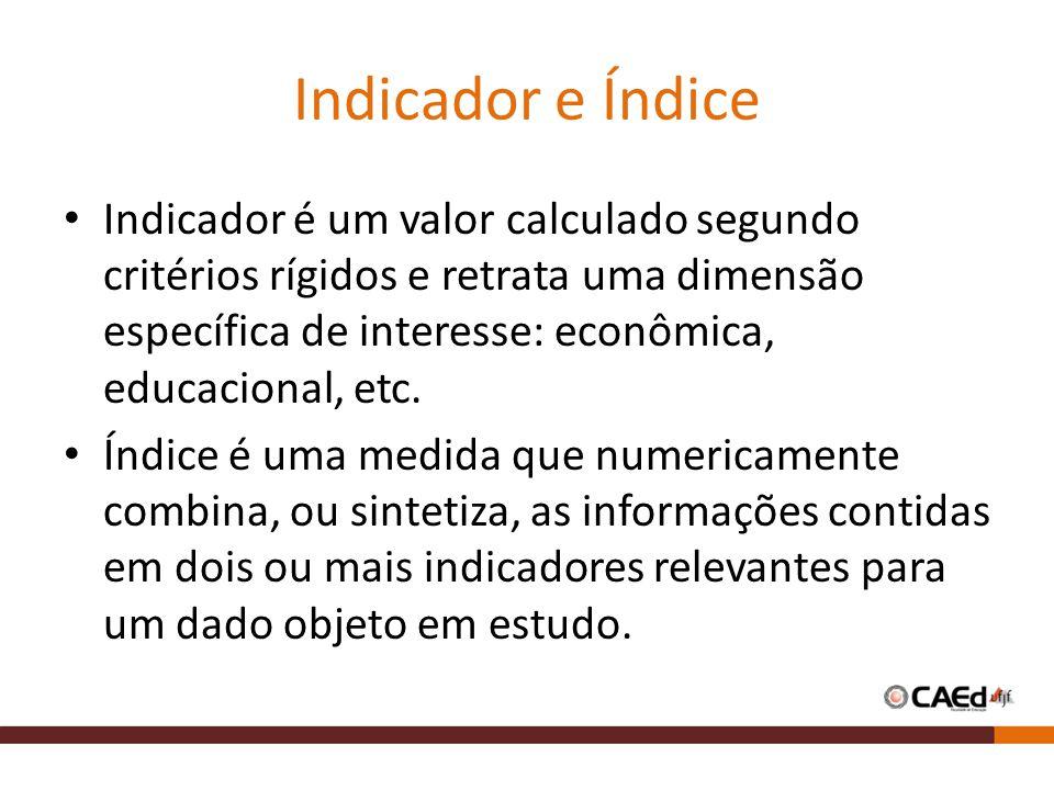 Indicador e Índice Indicador é um valor calculado segundo critérios rígidos e retrata uma dimensão específica de interesse: econômica, educacional, et