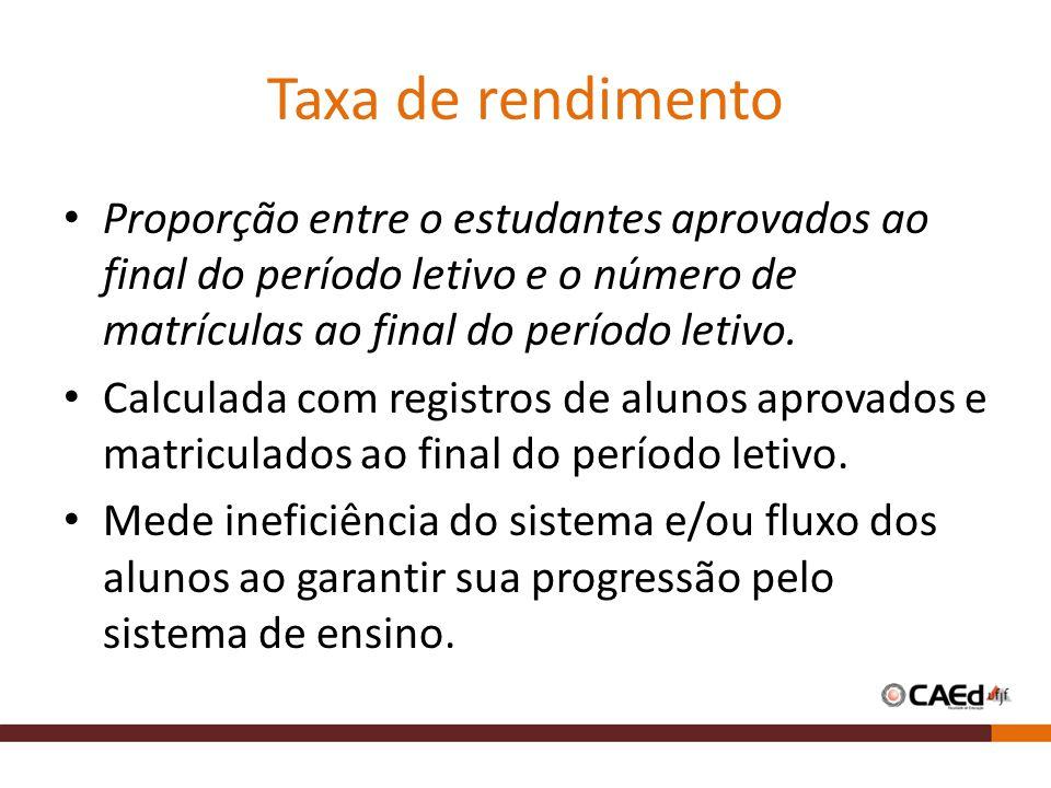Taxa de rendimento Proporção entre o estudantes aprovados ao final do período letivo e o número de matrículas ao final do período letivo. Calculada co