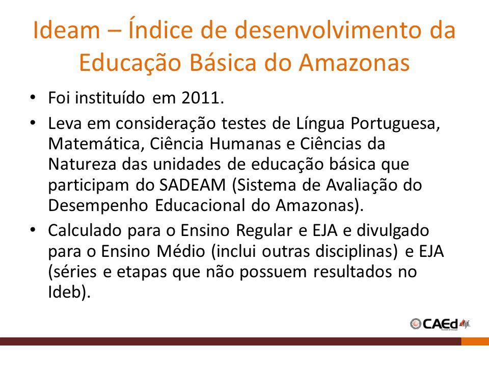 Ideam – Índice de desenvolvimento da Educação Básica do Amazonas Foi instituído em 2011. Leva em consideração testes de Língua Portuguesa, Matemática,