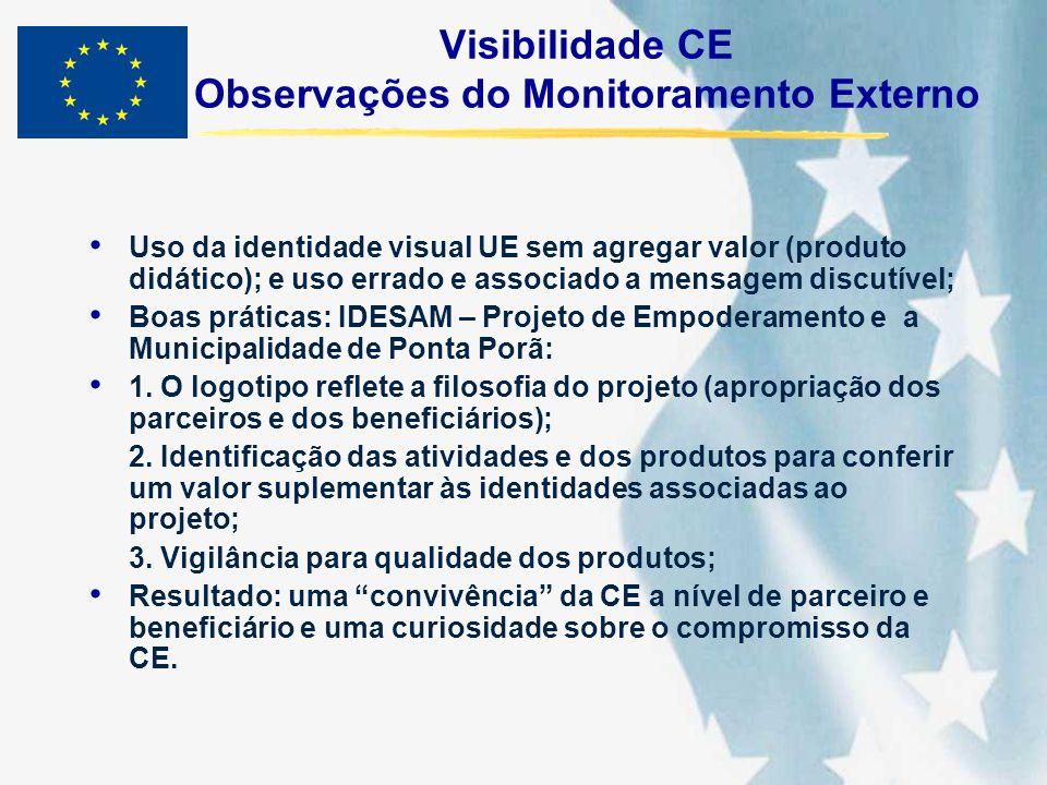 Visibilidade CE Observações do Monitoramento Externo Uso da identidade visual UE sem agregar valor (produto didático); e uso errado e associado a mens