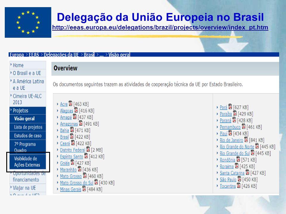 Delegação da União Europeia no Brasil http://eeas.europa.eu/delegations/brazil/projects/overview/index_pt.htm