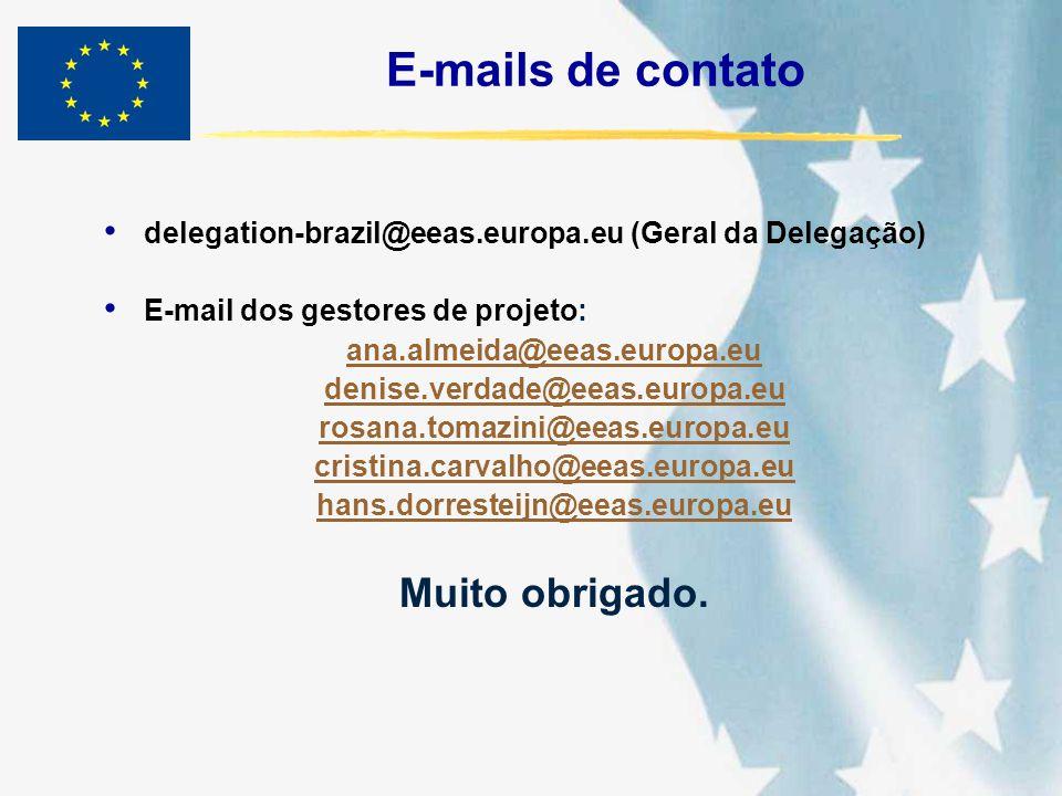 E-mails de contato delegation-brazil@eeas.europa.eu (Geral da Delegação) E-mail dos gestores de projeto: ana.almeida@eeas.europa.eu denise.verdade@eea