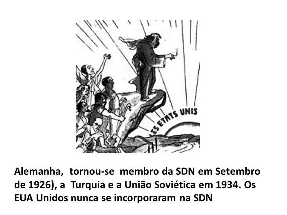 Alemanha, tornou-se membro da SDN em Setembro de 1926), a Turquia e a União Soviética em 1934.