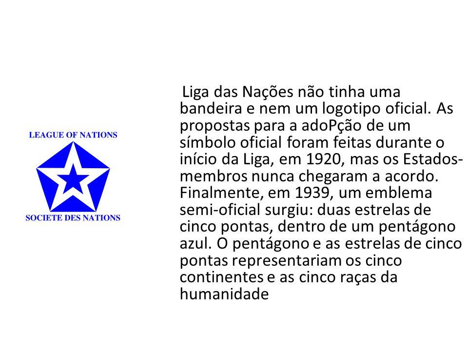 Liga das Nações não tinha uma bandeira e nem um logotipo oficial.