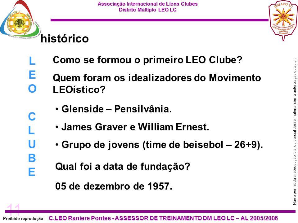11 Proibido reprodução C.LEO Raniere Pontes - ASSESSOR DE TREINAMENTO DM LEO LC – AL 2005/2006 Não é permitida a reprodução total ou parcial desse material sem a autorização do autor.