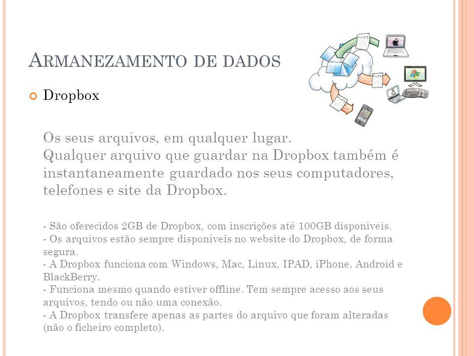 A RMANEZAMENTO DE DADOS Dropbox Os seus arquivos, em qualquer lugar.