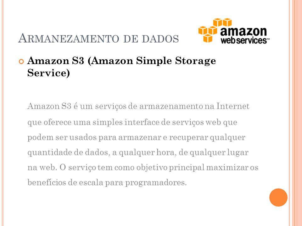 Amazon S3 (Amazon Simple Storage Service) Amazon S3 é um serviços de armazenamento na Internet que oferece uma simples interface de serviços web que podem ser usados  para armazenar e recuperar qualquer quantidade de dados, a qualquer hora, de qualquer lugar na web.