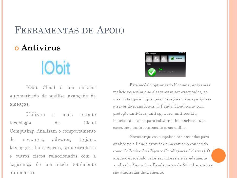 F ERRAMENTAS DE A POIO Antivirus IObit Cloud é um sistema automatizado de análise avançada de ameaças.