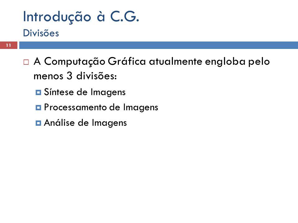  A Computação Gráfica atualmente engloba pelo menos 3 divisões:  Síntese de Imagens  Processamento de Imagens  Análise de Imagens Divisões 11 Intr