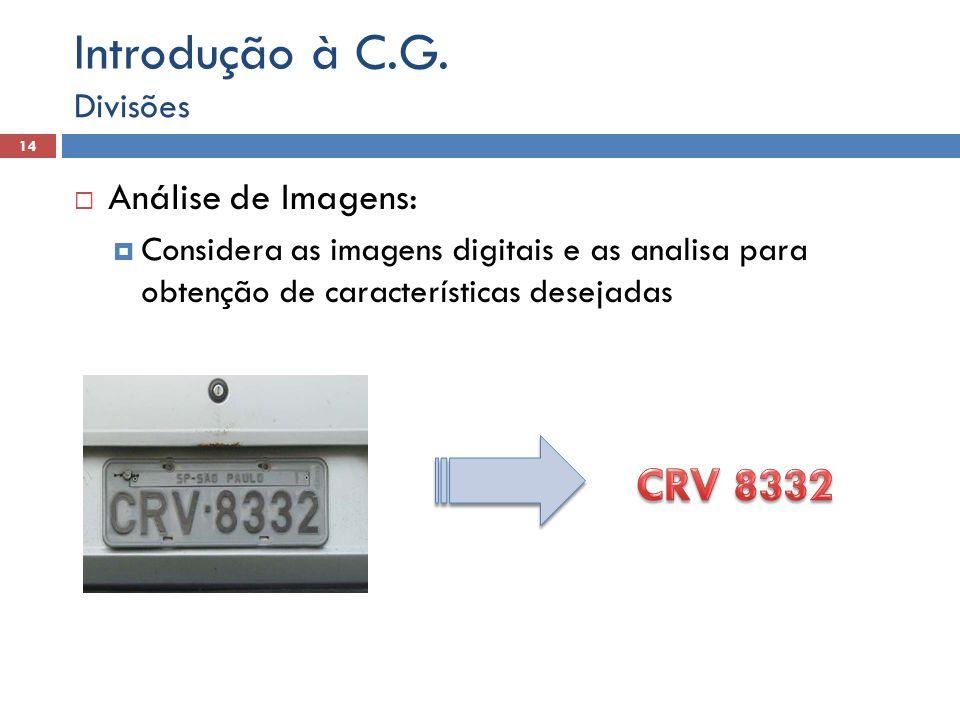  Análise de Imagens:  Considera as imagens digitais e as analisa para obtenção de características desejadas Divisões 14 Introdução à C.G.