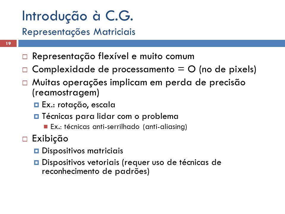  Representação flexível e muito comum  Complexidade de processamento = O (no de pixels)  Muitas operações implicam em perda de precisão (reamostrag