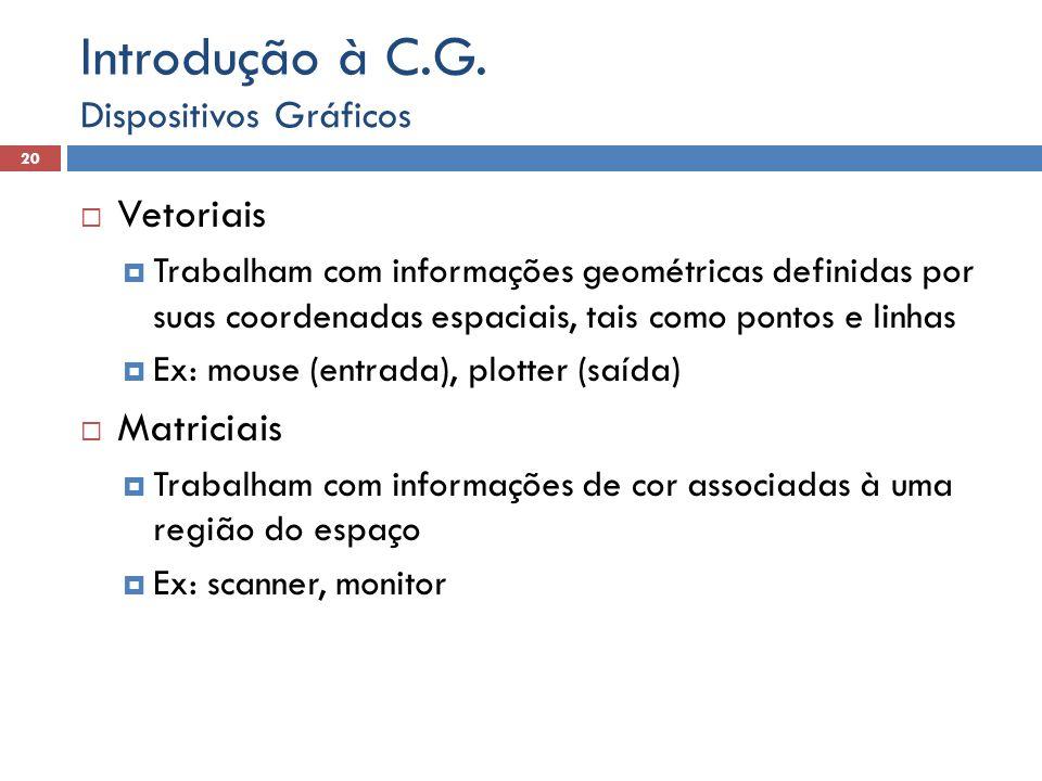  Vetoriais  Trabalham com informações geométricas definidas por suas coordenadas espaciais, tais como pontos e linhas  Ex: mouse (entrada), plotter