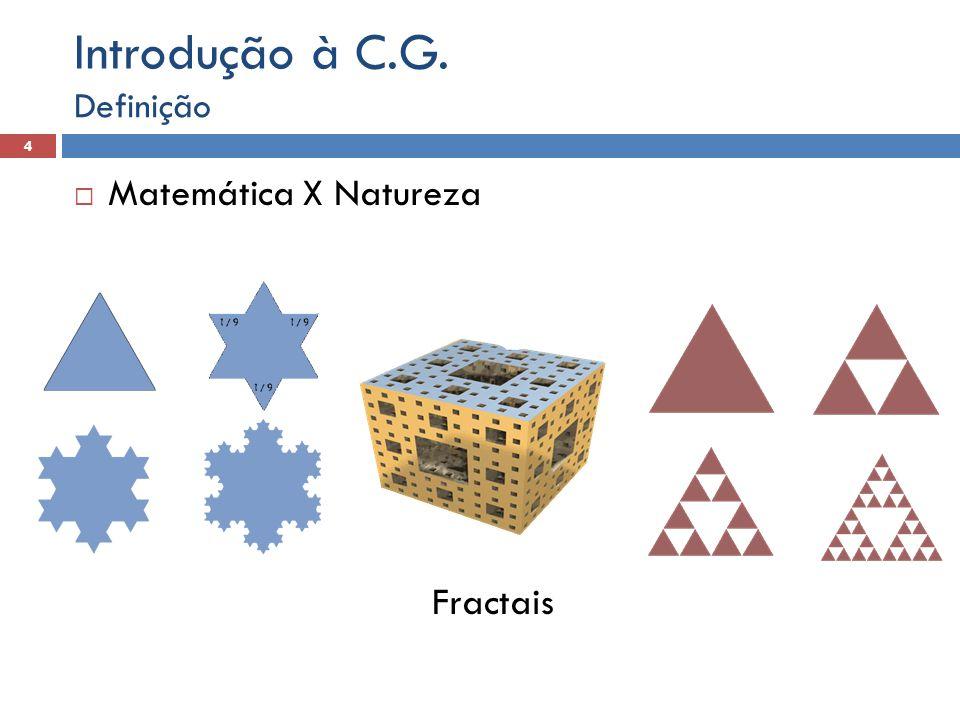  Matemática X Natureza Fractais Definição 4 Introdução à C.G.