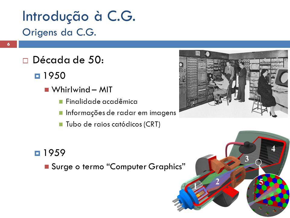  Década de 50:  1950 Whirlwind – MIT Finalidade acadêmica Informações de radar em imagens Tubo de raios catódicos (CRT)  1959 Surge o termo Computer Graphics Origens da C.G.