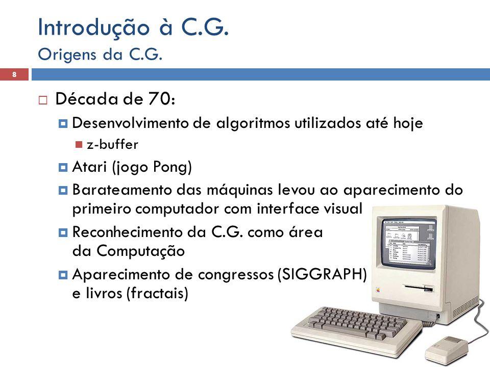  Década de 70:  Desenvolvimento de algoritmos utilizados até hoje z-buffer  Atari (jogo Pong)  Barateamento das máquinas levou ao aparecimento do primeiro computador com interface visual  Reconhecimento da C.G.