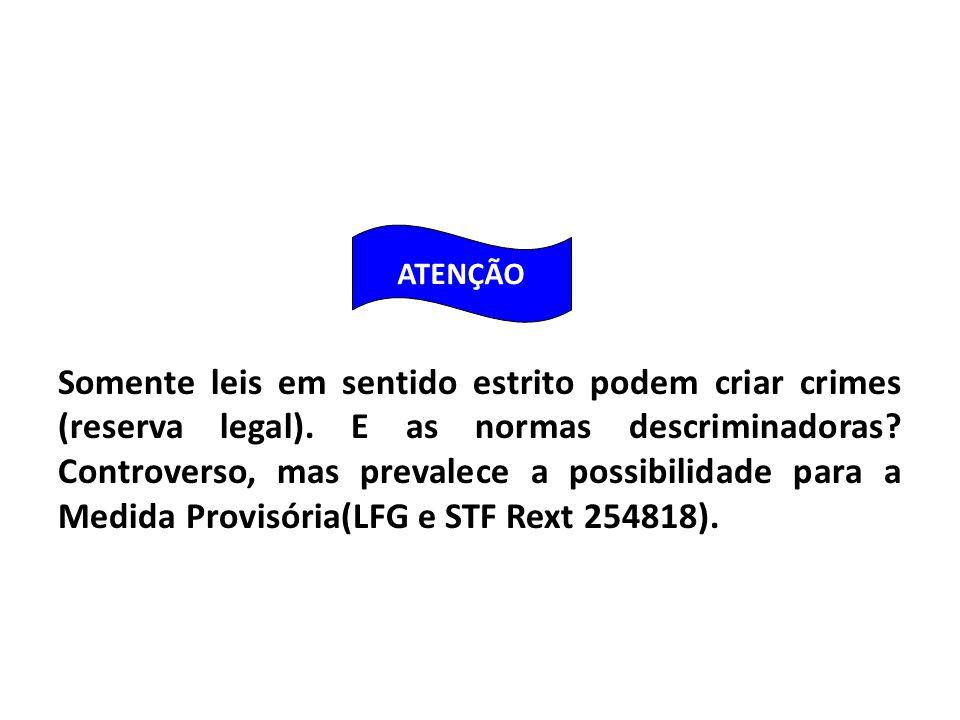 Somente leis em sentido estrito podem criar crimes (reserva legal).