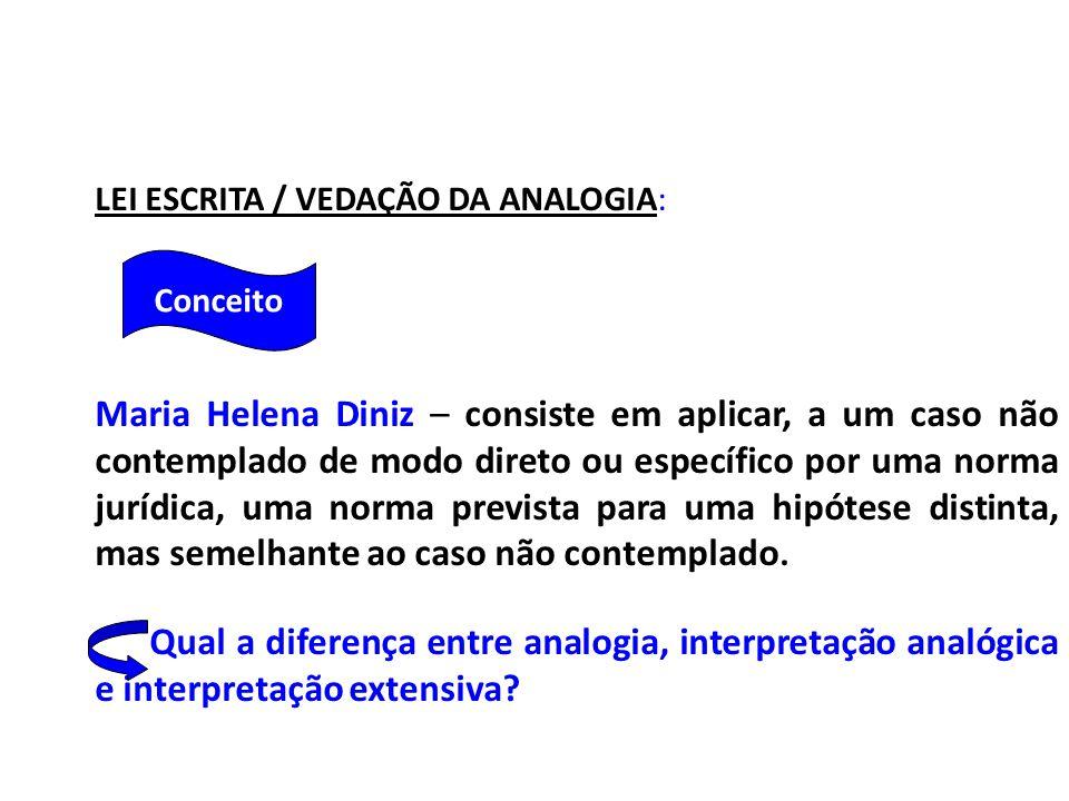 LEI ESCRITA / VEDAÇÃO DA ANALOGIA: Maria Helena Diniz – consiste em aplicar, a um caso não contemplado de modo direto ou específico por uma norma jurídica, uma norma prevista para uma hipótese distinta, mas semelhante ao caso não contemplado.